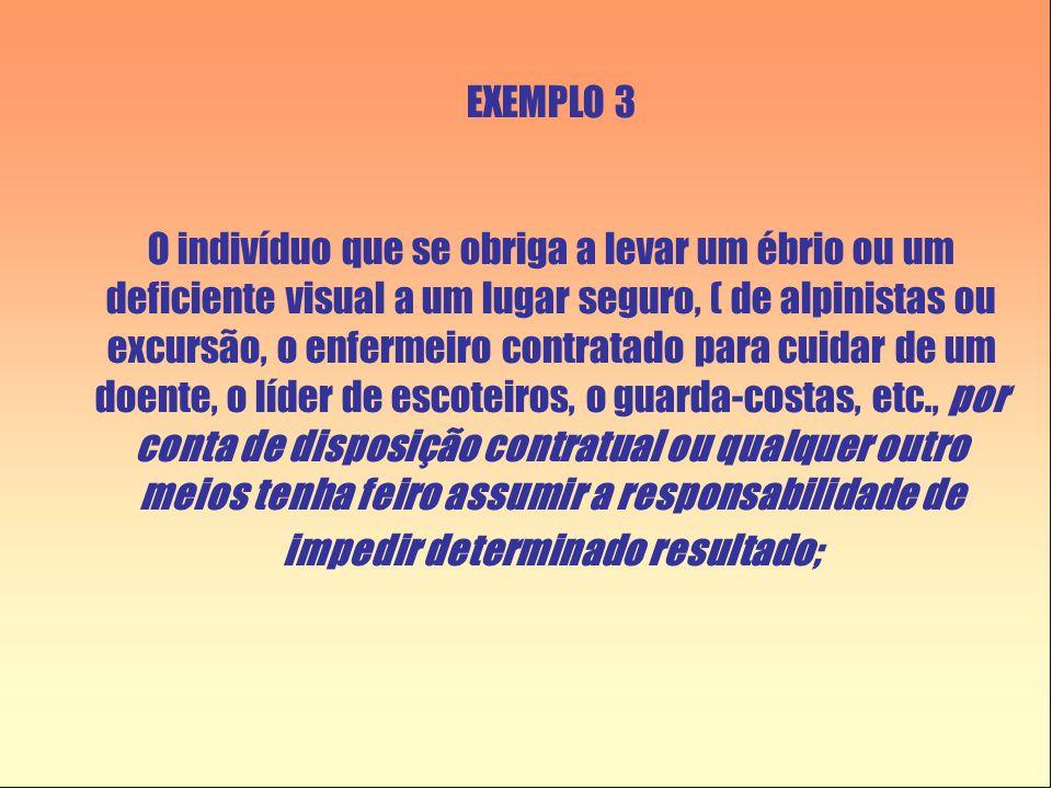 EXEMPLO 3 O indivíduo que se obriga a levar um ébrio ou um deficiente visual a um lugar seguro, ( de alpinistas ou excursão, o enfermeiro contratado p