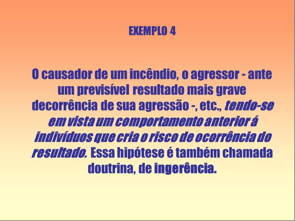 EXEMPLO 4 O causador de um incêndio, o agressor - ante um previsível resultado mais grave decorrência de sua agressão -, etc., tendo-se em vista um comportamento anterior á indivíduos que cria o risco de ocorrência do resultado.