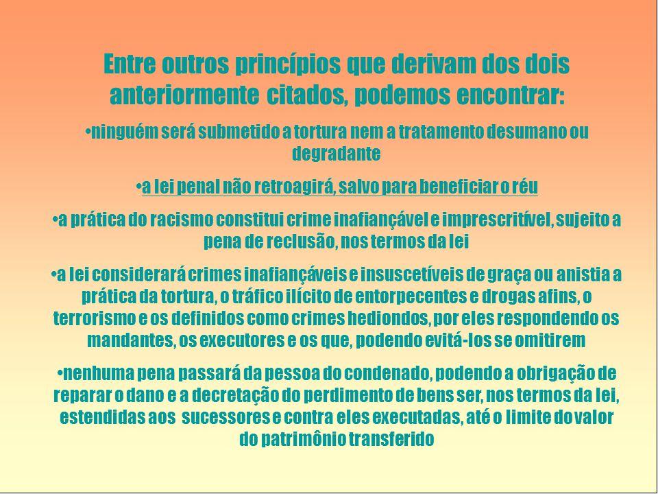 Entre outros princípios que derivam dos dois anteriormente citados, podemos encontrar: •ninguém será submetido a tortura nem a tratamento desumano ou degradante •a lei penal não retroagirá, salvo para beneficiar o réu •a prática do racismo constitui crime inafiançável e imprescritível, sujeito a pena de reclusão, nos termos da lei •a lei considerará crimes inafiançáveis e insuscetíveis de graça ou anistia a prática da tortura, o tráfico ilícito de entorpecentes e drogas afins, o terrorismo e os definidos como crimes hediondos, por eles respondendo os mandantes, os executores e os que, podendo evitá-los se omitirem •nenhuma pena passará da pessoa do condenado, podendo a obrigação de reparar o dano e a decretação do perdimento de bens ser, nos termos da lei, estendidas aos sucessores e contra eles executadas, até o limite do valor do patrimônio transferido