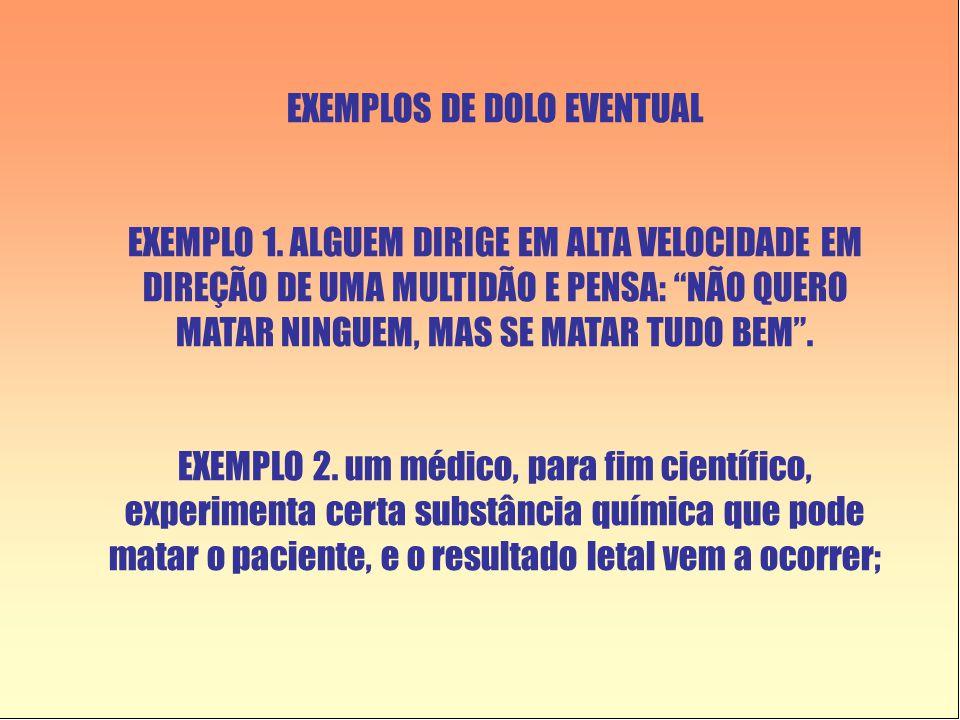 EXEMPLOS DE DOLO EVENTUAL EXEMPLO 1.