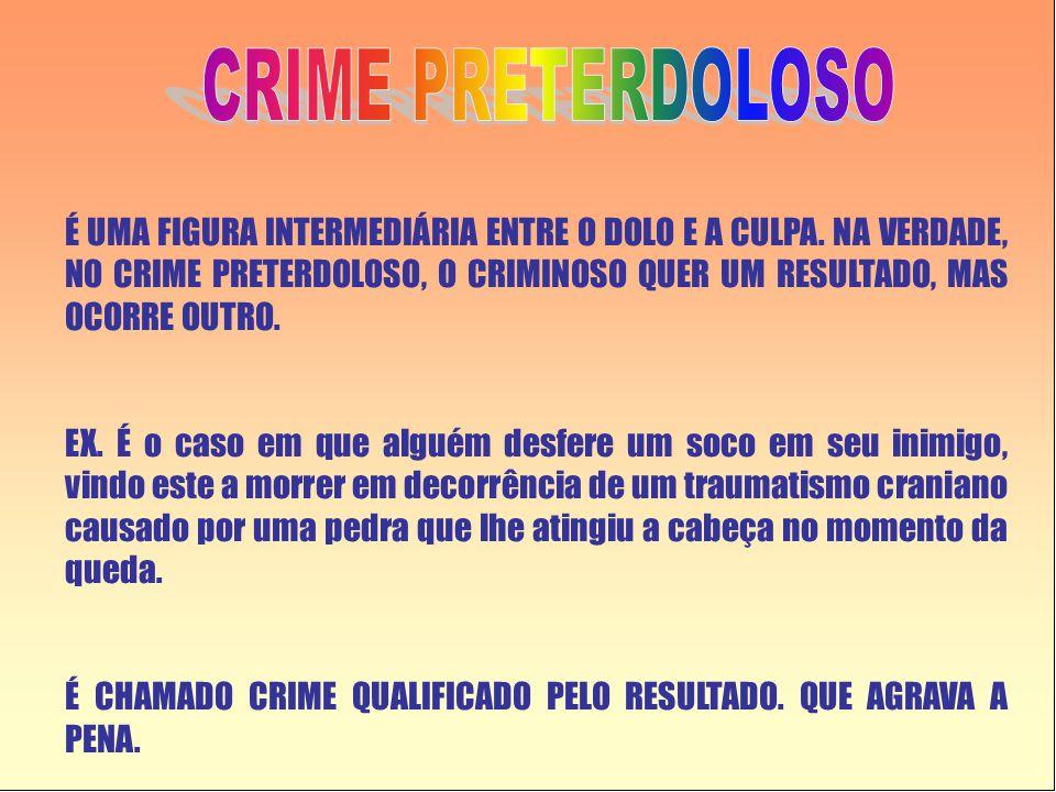 É UMA FIGURA INTERMEDIÁRIA ENTRE O DOLO E A CULPA. NA VERDADE, NO CRIME PRETERDOLOSO, O CRIMINOSO QUER UM RESULTADO, MAS OCORRE OUTRO. EX. É o caso em