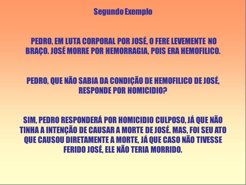 Segundo Exemplo PEDRO, EM LUTA CORPORAL POR JOSÉ, O FERE LEVEMENTE NO BRAÇO. JOSÉ MORRE POR HEMORRAGIA, POIS ERA HEMOFILICO. PEDRO, QUE NÃO SABIA DA C
