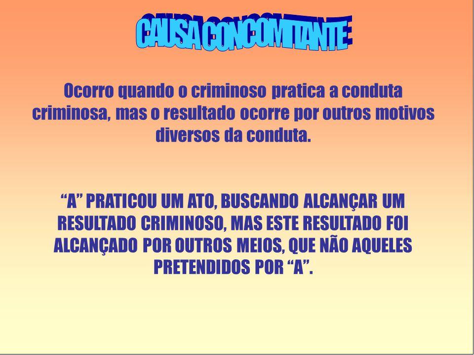 """Ocorro quando o criminoso pratica a conduta criminosa, mas o resultado ocorre por outros motivos diversos da conduta. """"A"""" PRATICOU UM ATO, BUSCANDO AL"""