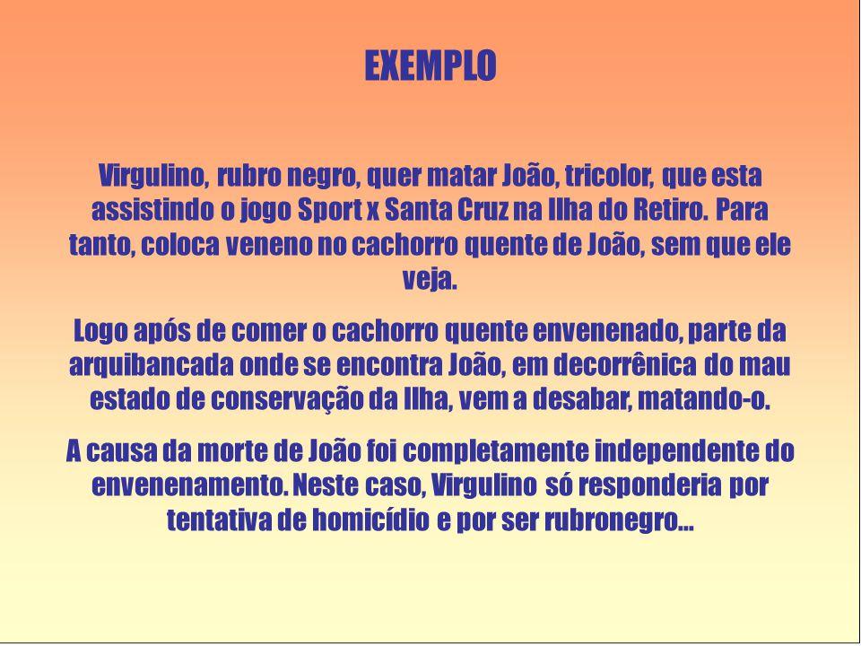 EXEMPLO Virgulino, rubro negro, quer matar João, tricolor, que esta assistindo o jogo Sport x Santa Cruz na Ilha do Retiro. Para tanto, coloca veneno