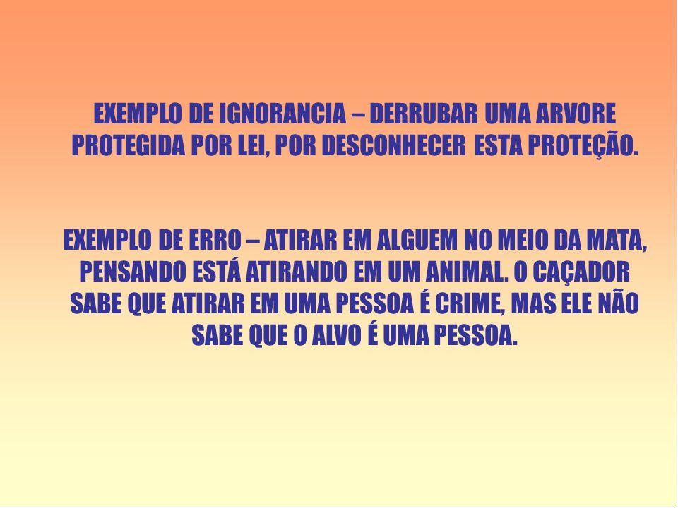 EXEMPLO DE IGNORANCIA – DERRUBAR UMA ARVORE PROTEGIDA POR LEI, POR DESCONHECER ESTA PROTEÇÃO. EXEMPLO DE ERRO – ATIRAR EM ALGUEM NO MEIO DA MATA, PENS