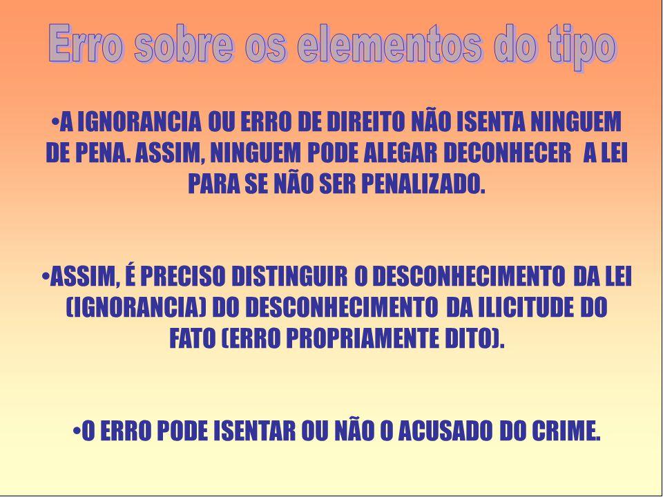 •A IGNORANCIA OU ERRO DE DIREITO NÃO ISENTA NINGUEM DE PENA.