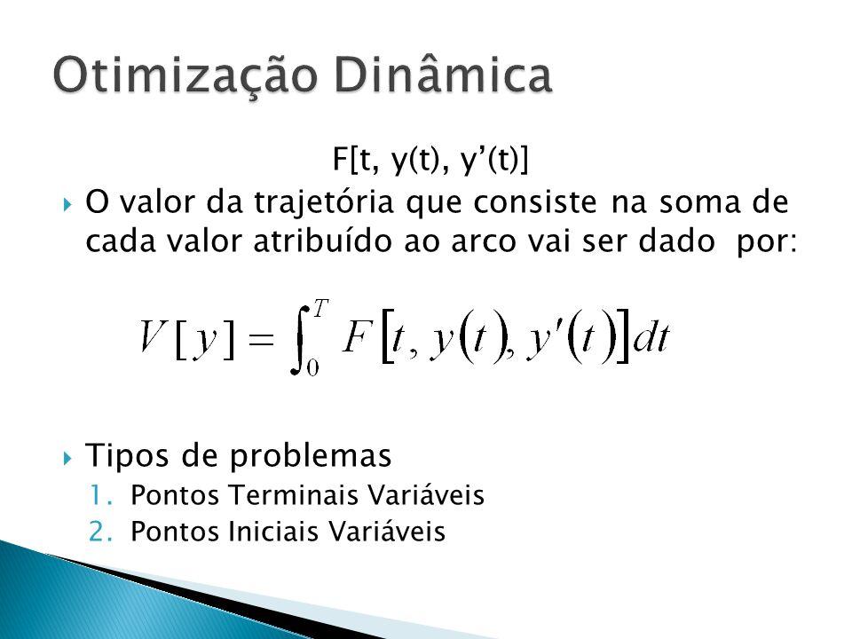 F[t, y(t), y'(t)]  O valor da trajetória que consiste na soma de cada valor atribuído ao arco vai ser dado por:  Tipos de problemas 1.Pontos Termina