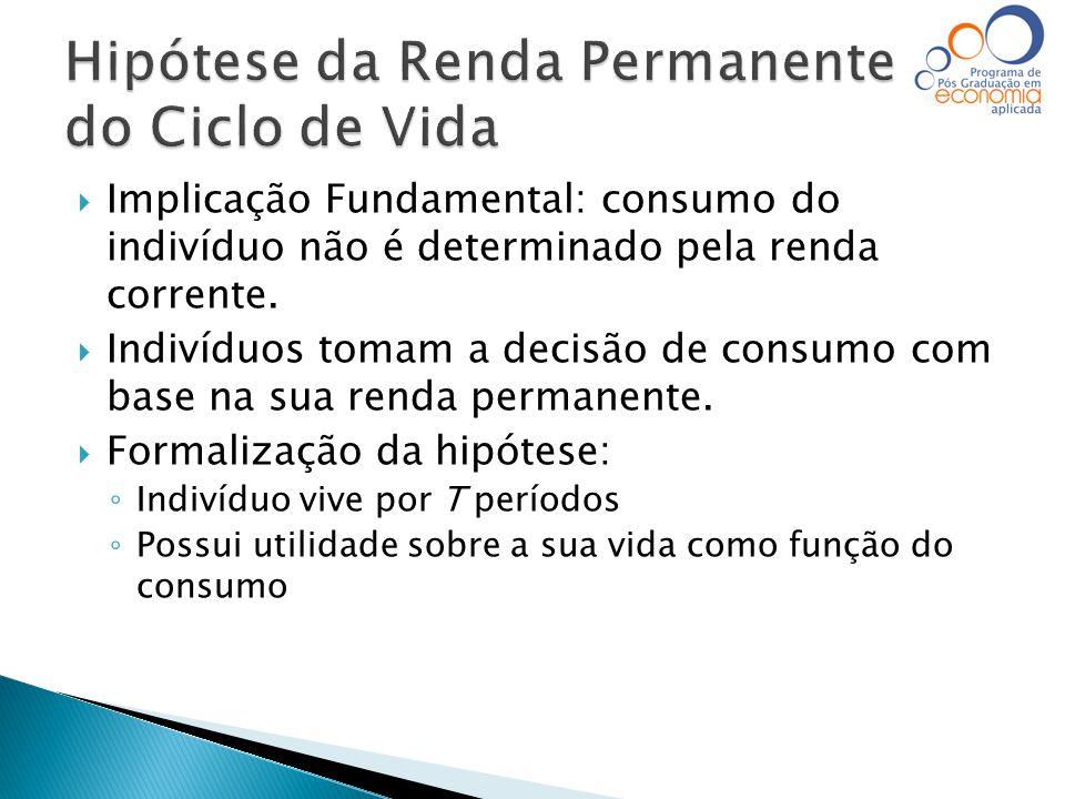  Implicação Fundamental: consumo do indivíduo não é determinado pela renda corrente.  Indivíduos tomam a decisão de consumo com base na sua renda pe