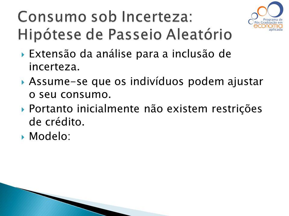  Extensão da análise para a inclusão de incerteza.  Assume-se que os indivíduos podem ajustar o seu consumo.  Portanto inicialmente não existem res
