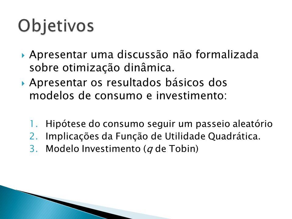  Apresentar uma discussão não formalizada sobre otimização dinâmica.  Apresentar os resultados básicos dos modelos de consumo e investimento: 1.Hipó