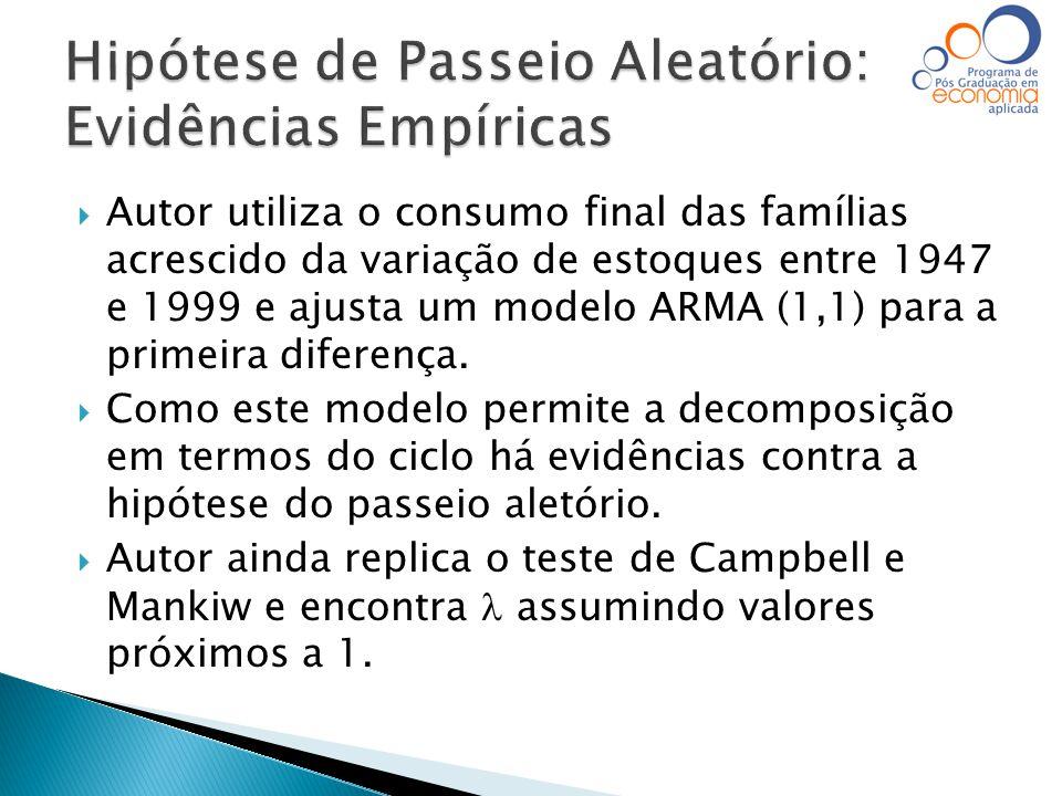 Autor utiliza o consumo final das famílias acrescido da variação de estoques entre 1947 e 1999 e ajusta um modelo ARMA (1,1) para a primeira diferen