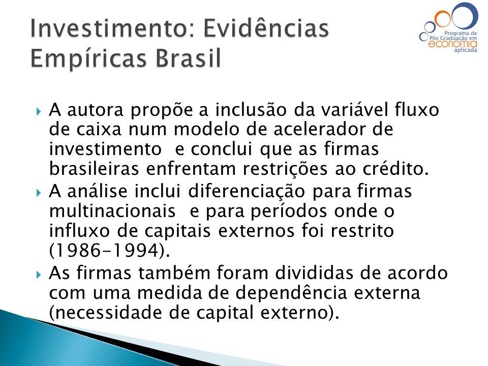  A autora propõe a inclusão da variável fluxo de caixa num modelo de acelerador de investimento e conclui que as firmas brasileiras enfrentam restriç