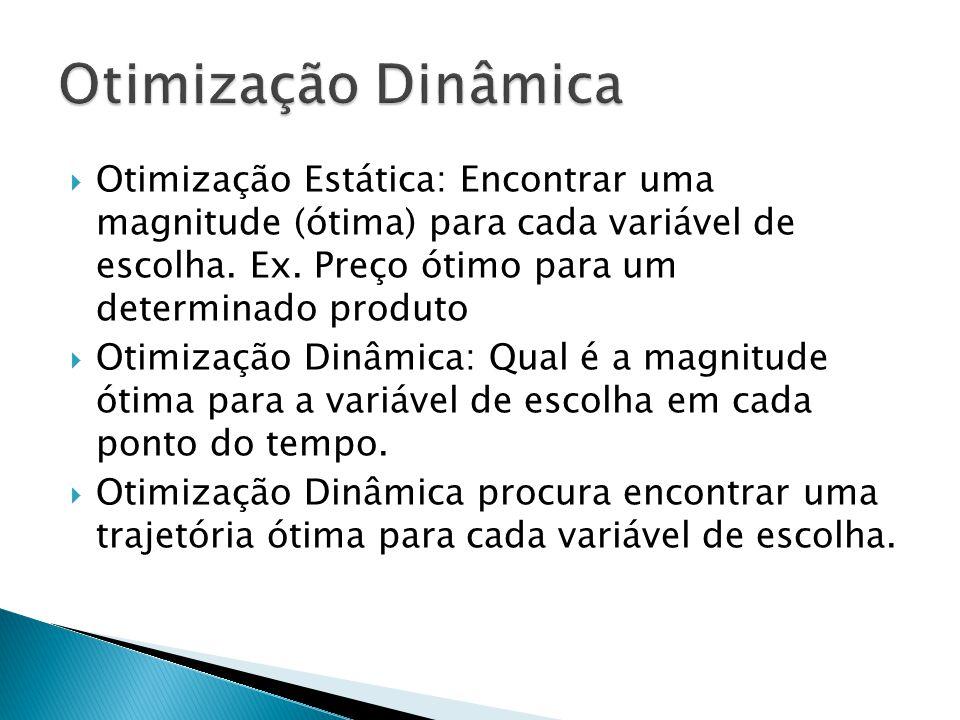  Otimização Estática: Encontrar uma magnitude (ótima) para cada variável de escolha. Ex. Preço ótimo para um determinado produto  Otimização Dinâmic