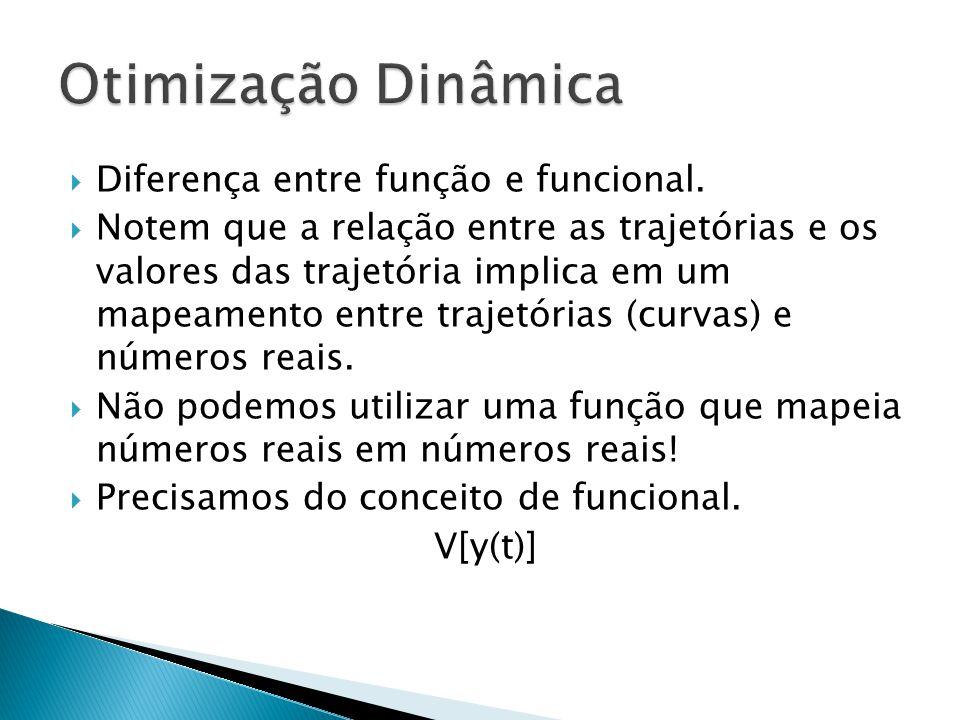 Diferença entre função e funcional.  Notem que a relação entre as trajetórias e os valores das trajetória implica em um mapeamento entre trajetória