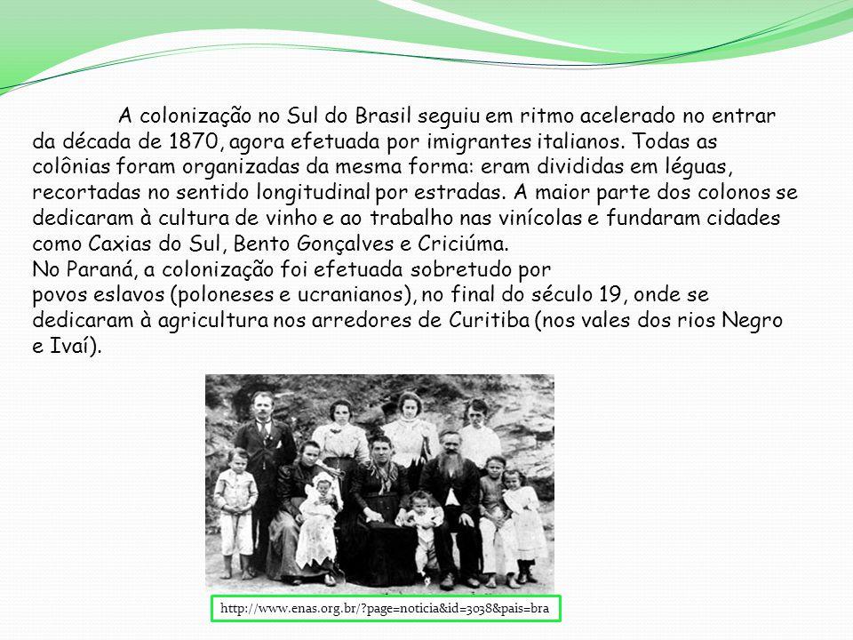 http://www.enas.org.br/?page=noticia&id=3038&pais=bra A colonização no Sul do Brasil seguiu em ritmo acelerado no entrar da década de 1870, agora efetuada por imigrantes italianos.