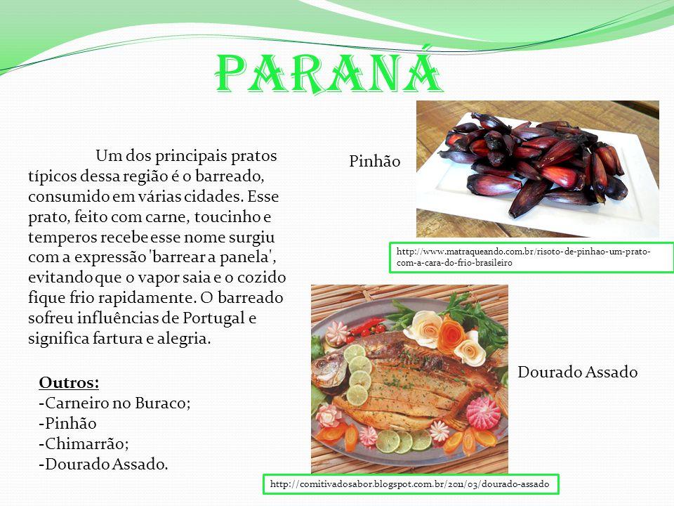 Paraná Um dos principais pratos típicos dessa região é o barreado, consumido em várias cidades.
