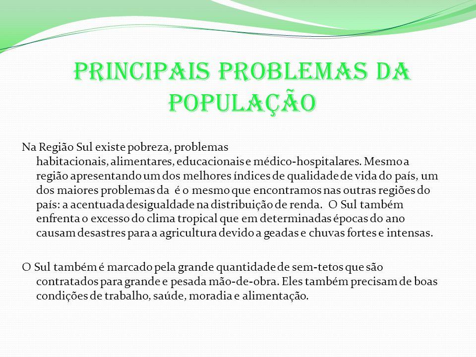 Principais problemas da população Na Região Sul existe pobreza, problemas habitacionais, alimentares, educacionais e médico-hospitalares.