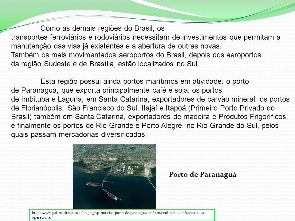 http://www.guiamaritimo.com.br/gm_wp/noticias/porto-de-paranagua-enfrenta-colapso-na-infraestrutura- operacional/ Porto de Paranaguá Como as demais regiões do Brasil, os transportes ferroviários e rodoviários necessitam de investimentos que permitam a manutenção das vias já existentes e a abertura de outras novas.