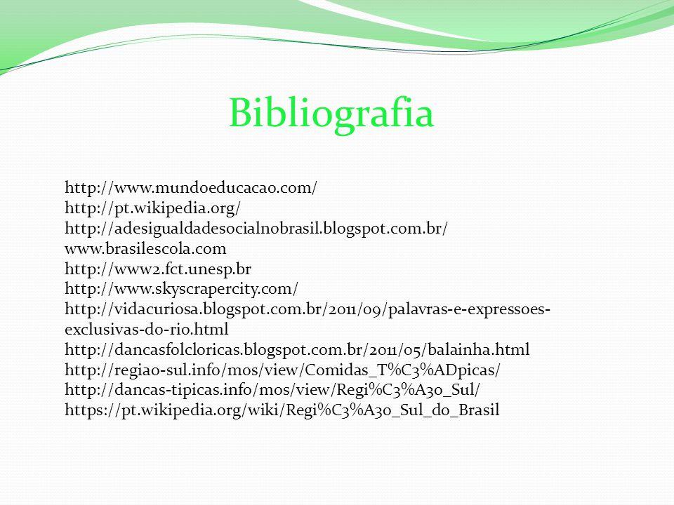 Bibliografia http://www.mundoeducacao.com/ http://pt.wikipedia.org/ http://adesigualdadesocialnobrasil.blogspot.com.br/ www.brasilescola.com http://www2.fct.unesp.br http://www.skyscrapercity.com/ http://vidacuriosa.blogspot.com.br/2011/09/palavras-e-expressoes- exclusivas-do-rio.html http://dancasfolcloricas.blogspot.com.br/2011/05/balainha.html http://regiao-sul.info/mos/view/Comidas_T%C3%ADpicas/ http://dancas-tipicas.info/mos/view/Regi%C3%A3o_Sul/ https://pt.wikipedia.org/wiki/Regi%C3%A3o_Sul_do_Brasil