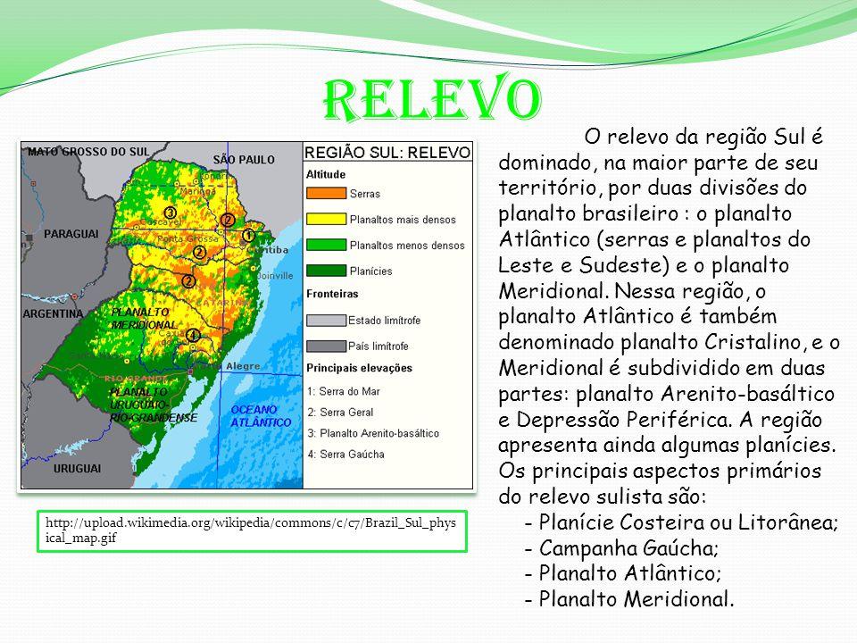 Relevo http://upload.wikimedia.org/wikipedia/commons/c/c7/Brazil_Sul_phys ical_map.gif O relevo da região Sul é dominado, na maior parte de seu território, por duas divisões do planalto brasileiro : o planalto Atlântico (serras e planaltos do Leste e Sudeste) e o planalto Meridional.