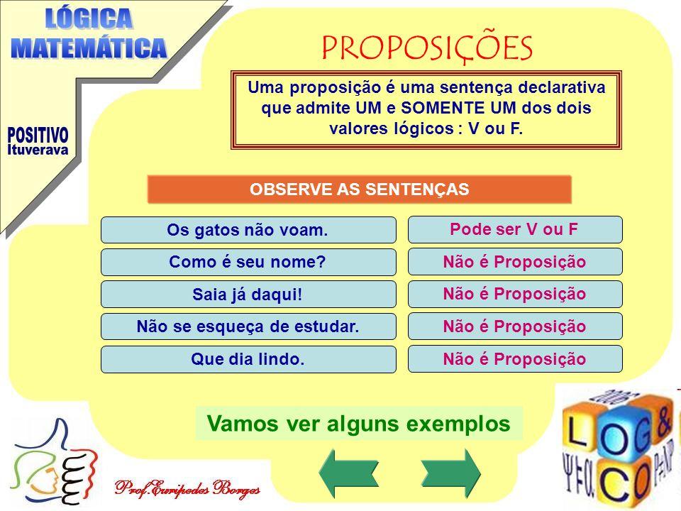 PROPOSIÇÕES Uma proposição é uma sentença declarativa que admite UM e SOMENTE UM dos dois valores lógicos : V ou F. OBSERVE AS SENTENÇAS Os gatos não