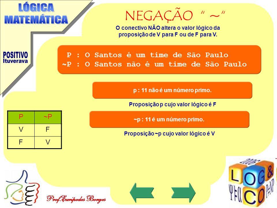 """NEGAÇÃO """" ~"""" P : O Santos é um time de São Paulo ~P : O Santos não é um time de São Paulo P~P VF FV O conectivo NÃO altera o valor lógico da proposiçã"""