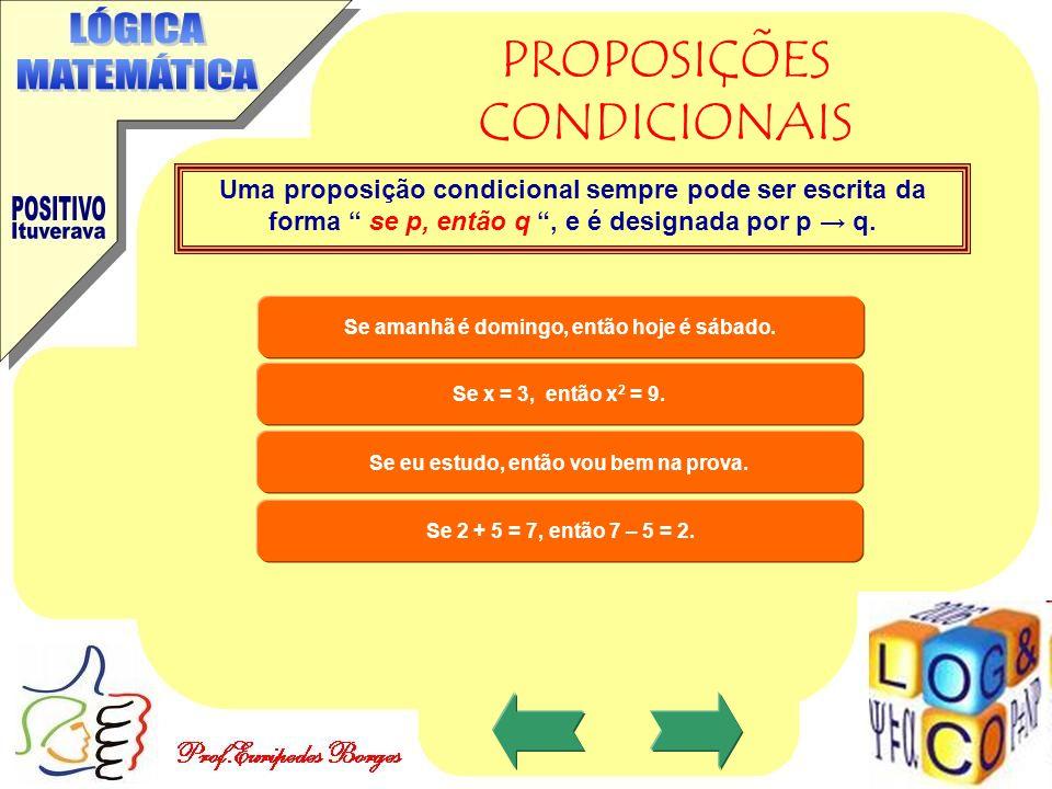 PROPOSIÇÕES CONDICIONAIS Uma proposição condicional sempre pode ser escrita da forma se p, então q , e é designada por p → q.