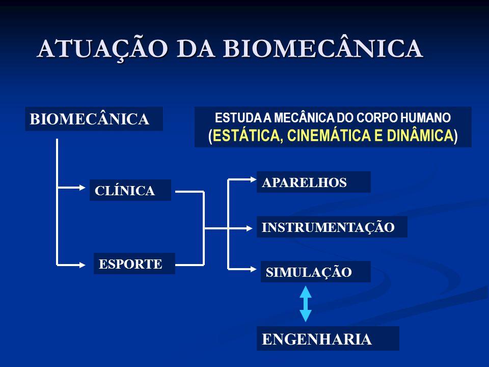 ATUAÇÃO DA BIOMECÂNICA BIOMECÂNICA ESTUDA A MECÂNICA DO CORPO HUMANO (ESTÁTICA, CINEMÁTICA E DINÂMICA) CLÍNICA ESPORTE INSTRUMENTAÇÃO ENGENHARIA APARE