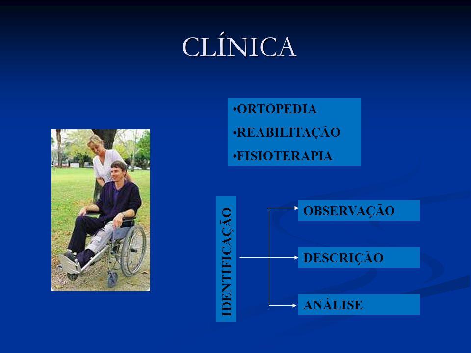 CLÍNICA •ORTOPEDIA •REABILITAÇÃO •FISIOTERAPIA OBSERVAÇÃO DESCRIÇÃO ANÁLISE IDENTIFICAÇÃO