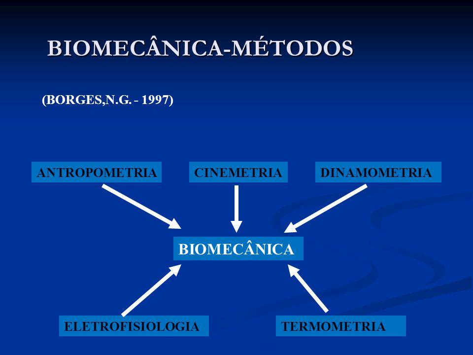 BIOMECÂNICA-MÉTODOS ANTROPOMETRIACINEMETRIADINAMOMETRIA ELETROFISIOLOGIATERMOMETRIA BIOMECÂNICA (BORGES,N.G. - 1997)