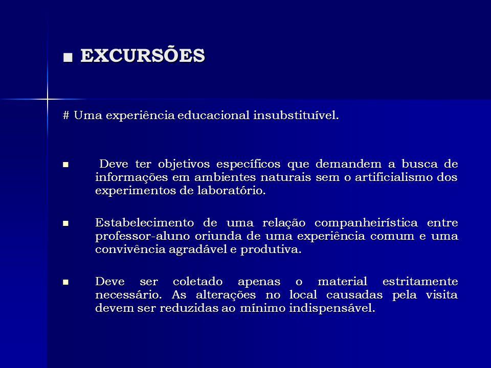 ■ EXCURSÕES # Uma experiência educacional insubstituível.  Deve ter objetivos específicos que demandem a busca de informações em ambientes naturais s