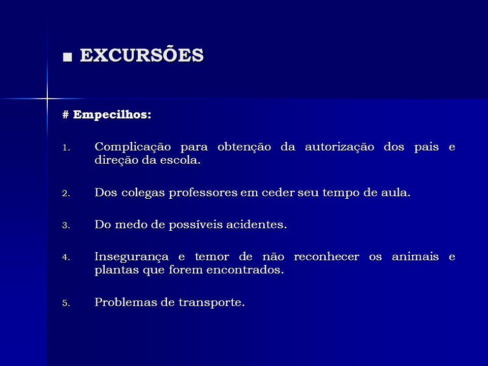 ■ EXCURSÕES # Empecilhos: 1. Complicação para obtenção da autorização dos pais e direção da escola. 2. Dos colegas professores em ceder seu tempo de a