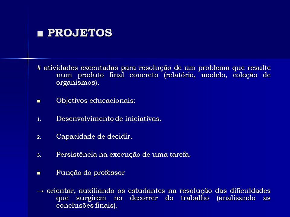 ■ PROJETOS # atividades executadas para resolução de um problema que resulte num produto final concreto (relatório, modelo, coleção de organismos). 