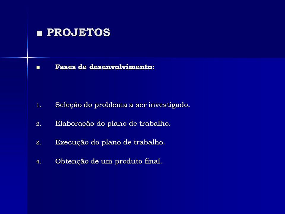 ■ PROJETOS  Fases de desenvolvimento: 1. Seleção do problema a ser investigado. 2. Elaboração do plano de trabalho. 3. Execução do plano de trabalho.