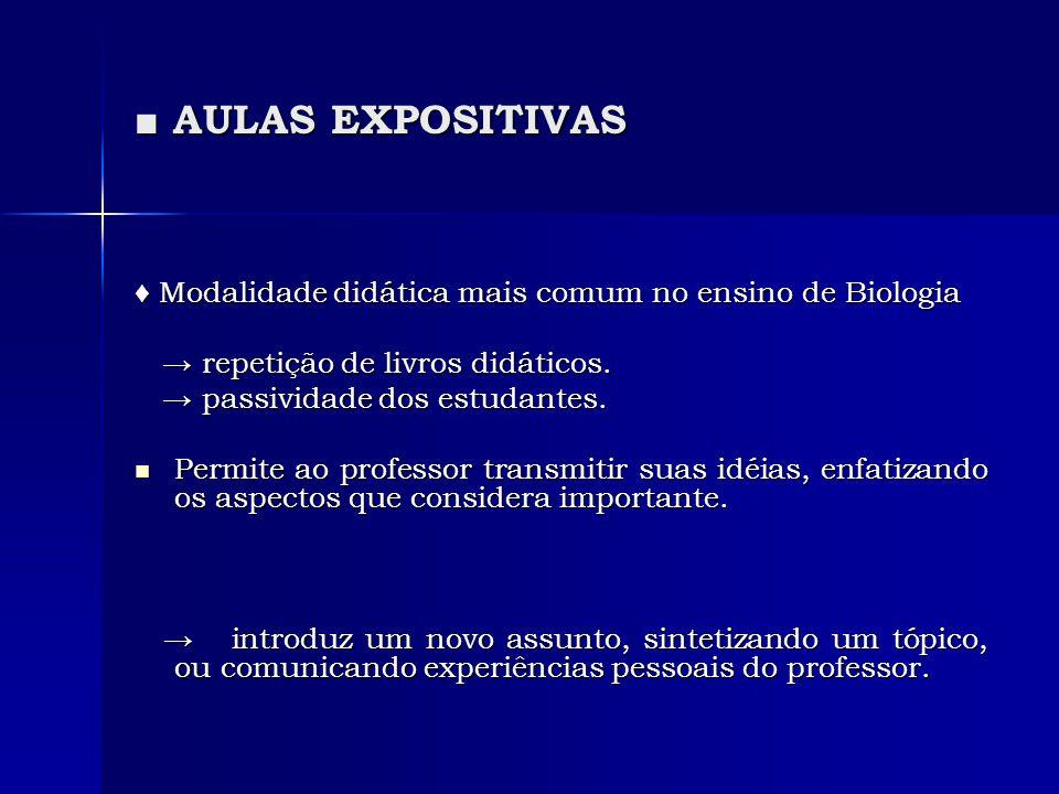 ■ AULAS EXPOSITIVAS ♦ Modalidade didática mais comum no ensino de Biologia → repetição de livros didáticos. → repetição de livros didáticos. → passivi