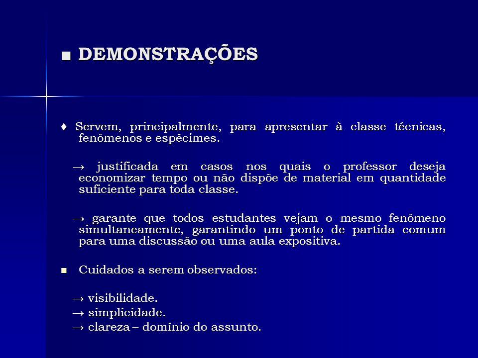 ■ DEMONSTRAÇÕES ♦ Servem, principalmente, para apresentar à classe técnicas, fenômenos e espécimes. → justificada em casos nos quais o professor desej