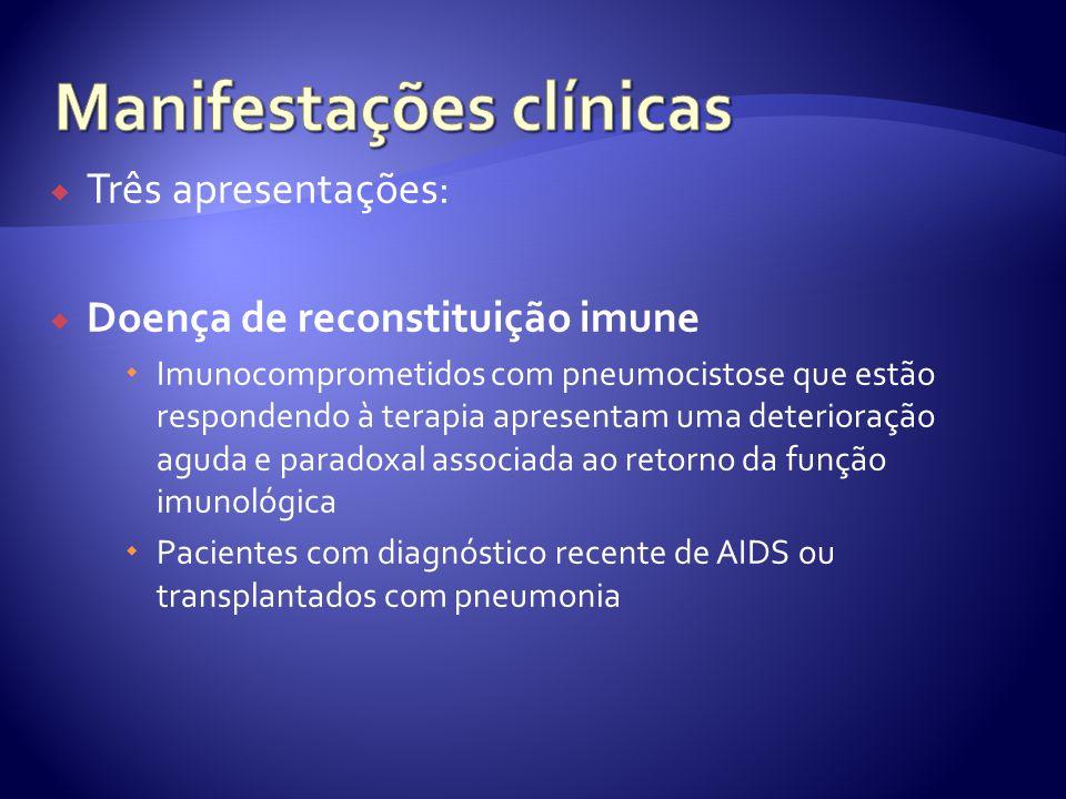  Três apresentações:  Doença de reconstituição imune  Imunocomprometidos com pneumocistose que estão respondendo à terapia apresentam uma deterioração aguda e paradoxal associada ao retorno da função imunológica  Pacientes com diagnóstico recente de AIDS ou transplantados com pneumonia
