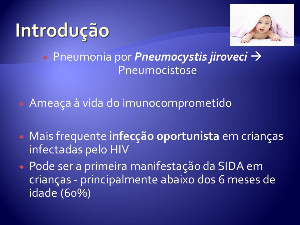  Pneumonia por Pneumocystis jiroveci  Pneumocistose  Ameaça à vida do imunocomprometido  Mais frequente infecção oportunista em crianças infectadas pelo HIV  Pode ser a primeira manifestação da SIDA em crianças - principalmente abaixo dos 6 meses de idade (60%)