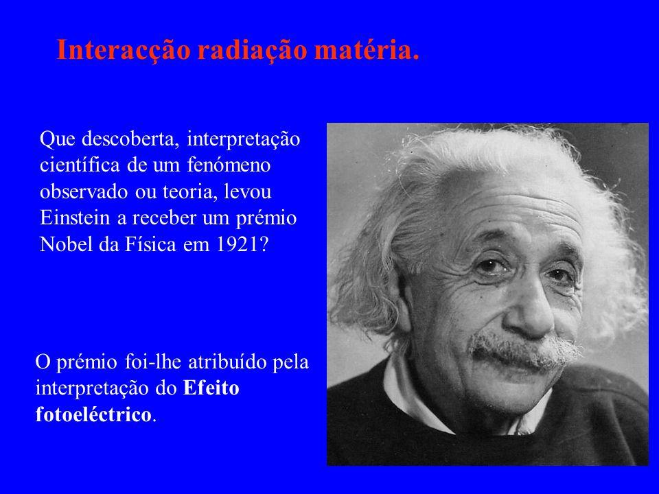 Interacção radiação matéria. Que descoberta, interpretação científica de um fenómeno observado ou teoria, levou Einstein a receber um prémio Nobel da