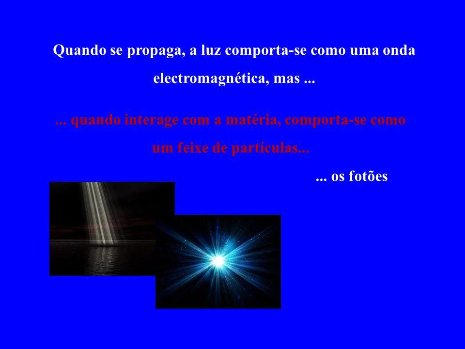 Quando se propaga, a luz comporta-se como uma onda electromagnética, mas...... quando interage com a matéria, comporta-se como um feixe de partículas.