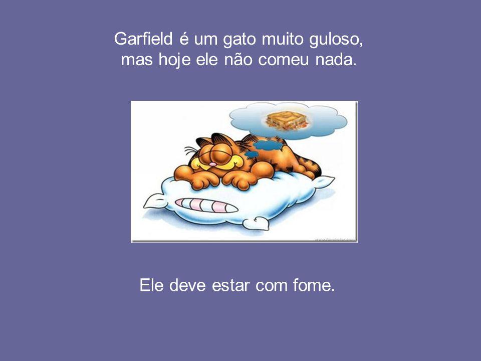 Garfield é um gato muito guloso, mas hoje ele não comeu nada. Ele deve estar com fome.