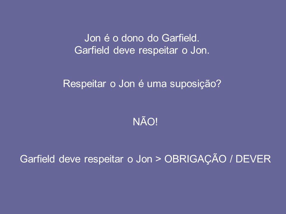 Jon é o dono do Garfield. Garfield deve respeitar o Jon. Respeitar o Jon é uma suposição? NÃO! Garfield deve respeitar o Jon > OBRIGAÇÃO / DEVER