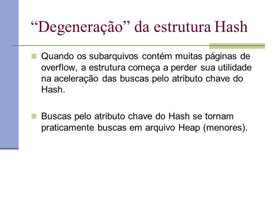 """""""Degeneração"""" da estrutura Hash  Quando os subarquivos contém muitas páginas de overflow, a estrutura começa a perder sua utilidade na aceleração das"""