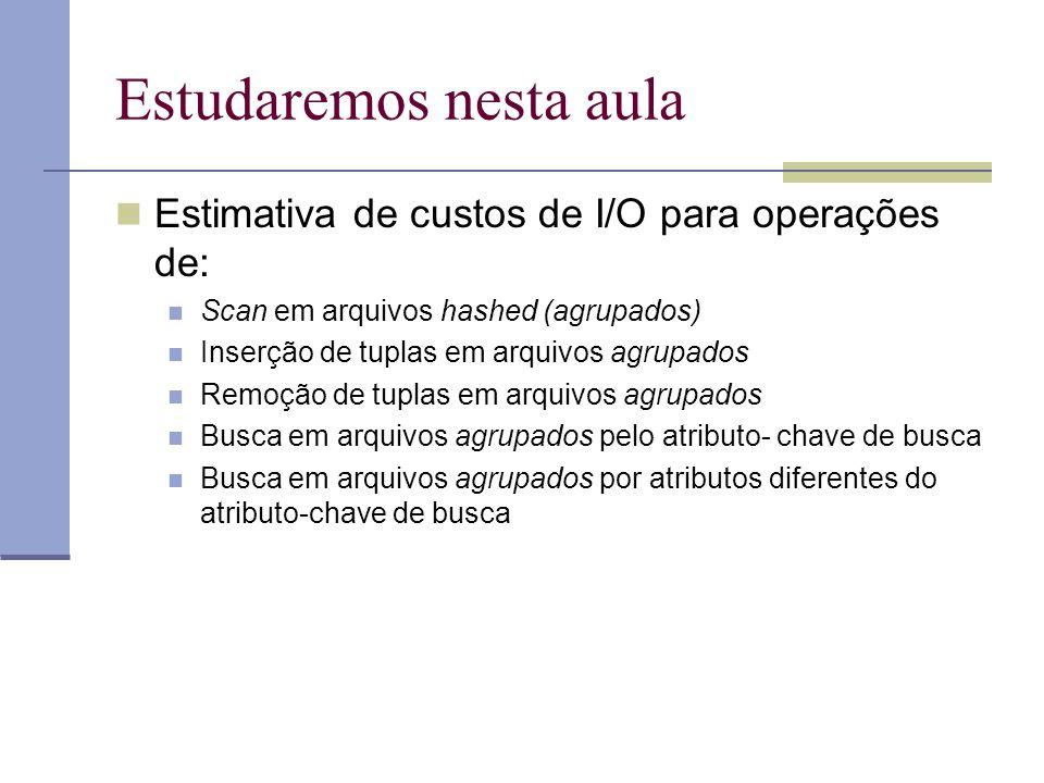 Estudaremos nesta aula  Estimativa de custos de I/O para operações de:  Scan em arquivos hashed (agrupados)  Inserção de tuplas em arquivos agrupad