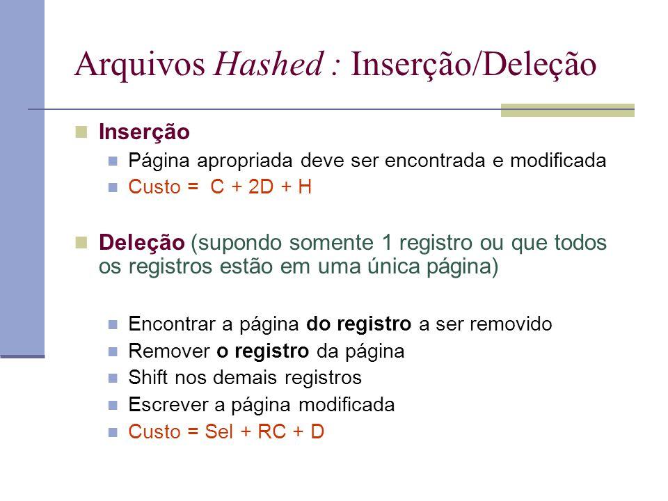 Arquivos Hashed : Inserção/Deleção  Inserção  Página apropriada deve ser encontrada e modificada  Custo = C + 2D + H  Deleção (supondo somente 1 r