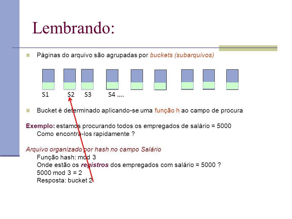 Lembrando:  Páginas do arquivo são agrupadas por buckets (subarquivos)  Bucket é determinado aplicando-se uma função h ao campo de procura Exemplo: