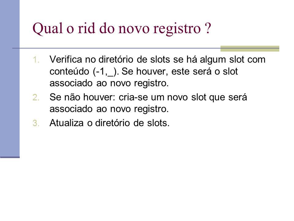Qual o rid do novo registro ? 1. Verifica no diretório de slots se há algum slot com conteúdo (-1,_). Se houver, este será o slot associado ao novo re