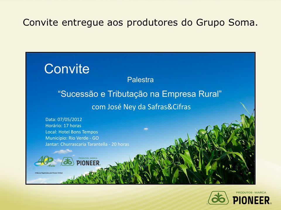 Convite entregue aos produtores do Grupo Soma.