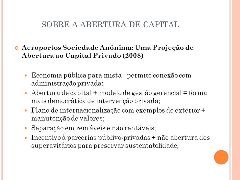 SOBRE A ABERTURA DE CAPITAL Aeroportos Sociedade Anônima: Uma Projeção de Abertura ao Capital Privado (2008)  Economia pública para mista - permite c
