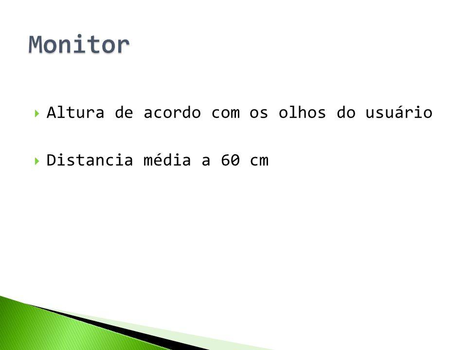  Altura de acordo com os olhos do usuário  Distancia média a 60 cm